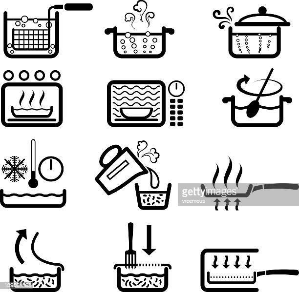 ilustrações, clipart, desenhos animados e ícones de instruções de culinária - frito