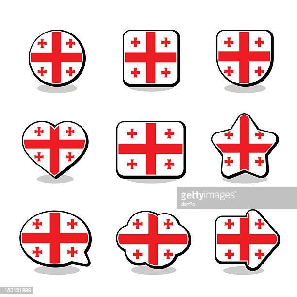 georgia flag icon set - flagge von georgien stock-grafiken, -clipart, -cartoons und -symbole
