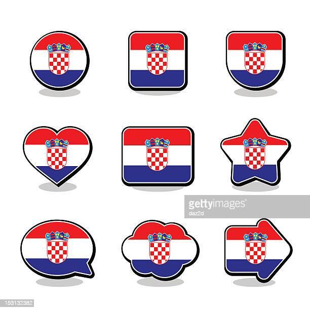 croatia flag icon set - croatian flag stock illustrations, clip art, cartoons, & icons