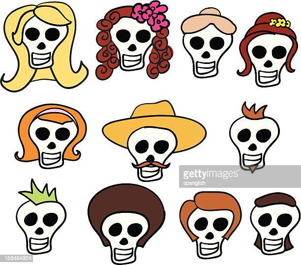 day of the dead faces - updo stock illustrations, clip art, cartoons, & icons