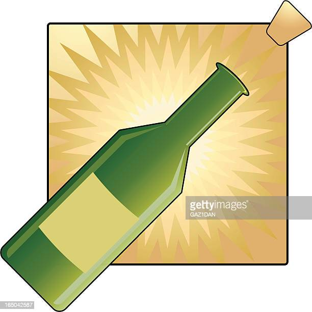 celebration bottle and cork - champagne cork stock illustrations, clip art, cartoons, & icons