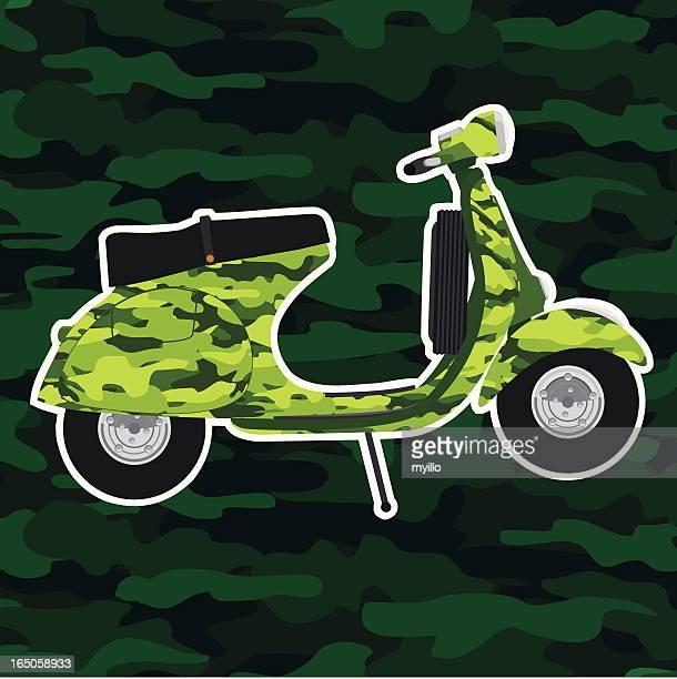 camouflage vespa - vespa stock illustrations, clip art, cartoons, & icons