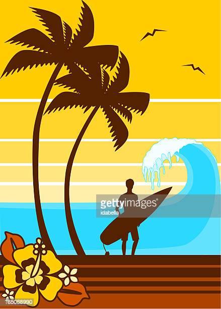 retro surfing silhouette - hawaiian ethnicity stock illustrations, clip art, cartoons, & icons