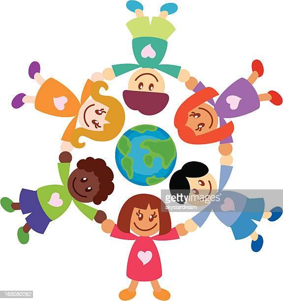 ilustraciones, imágenes clip art, dibujos animados e iconos de stock de mundo para niños - diversidad cultural