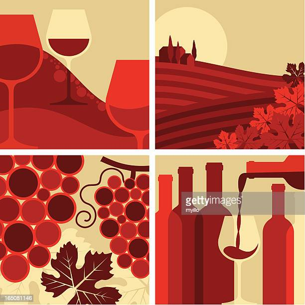 wine set - red wine stock illustrations, clip art, cartoons, & icons