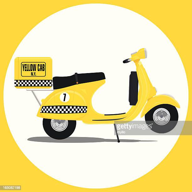 yellow cab vespa - vespa stock illustrations, clip art, cartoons, & icons