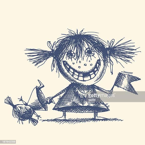 mad girl - vagabond stock illustrations, clip art, cartoons, & icons