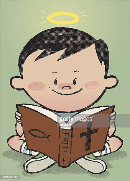 ilustraciones, imágenes clip art, dibujos animados e iconos de stock de little buen libro - personas leyendo la biblia