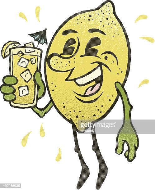 lemonade man! drink up - lemon soda stock illustrations