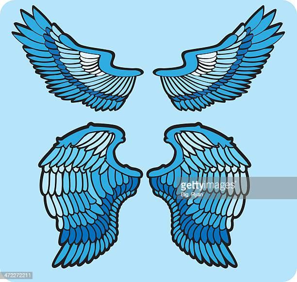 wing set - animal heart stock illustrations, clip art, cartoons, & icons