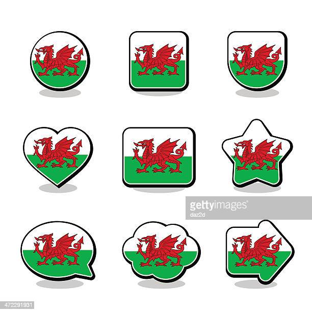 wales flag icon set - welsh flag stock illustrations