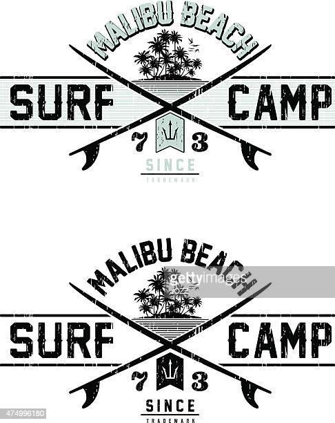 ilustraciones, imágenes clip art, dibujos animados e iconos de stock de navegue en camp - tabla de surf