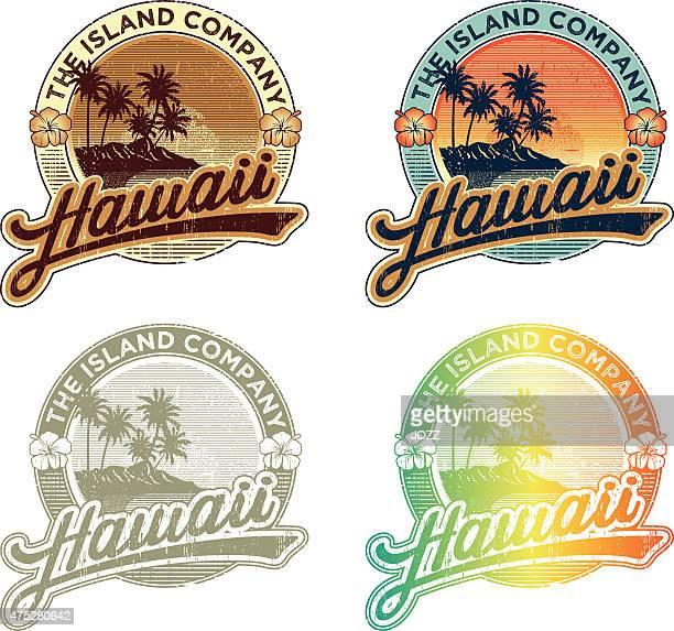 hawaiian tropical emblem - surfing stock illustrations, clip art, cartoons, & icons