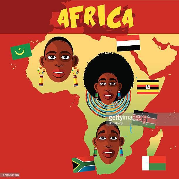 ilustraciones, imágenes clip art, dibujos animados e iconos de stock de póster de áfrica - masai