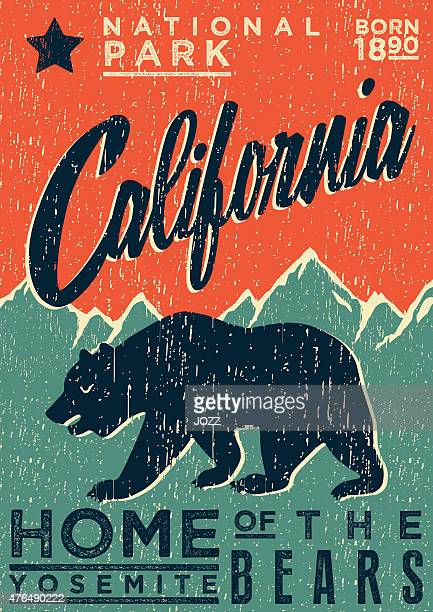 california bear poster - california stock illustrations, clip art, cartoons, & icons