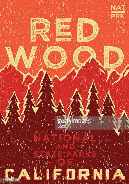 red wood poster - natural parkland stock illustrations, clip art, cartoons, & icons