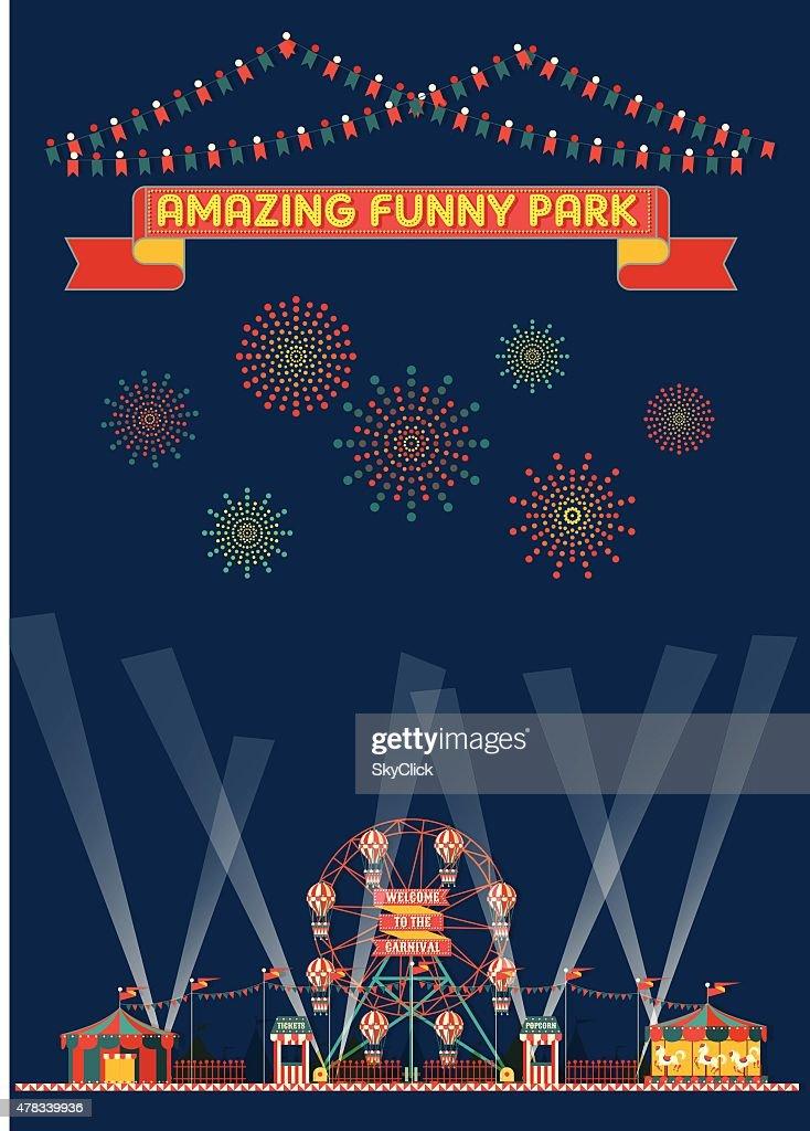 FUNNY PARK CARNIVAL NIGHT SCENE WALLPAPER
