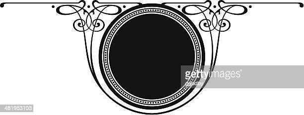 circle- scroll panel - art nouveau stock illustrations, clip art, cartoons, & icons