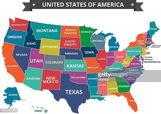 usa_map - virginia us state stock illustrations
