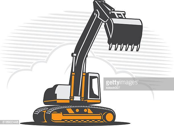 excavator - earth mover stock illustrations