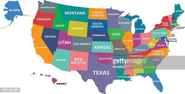 ilustrações, clipart, desenhos animados e ícones de colorido mapa dos eua - geórgia sul dos estados unidos