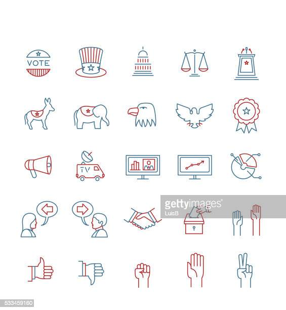usa elections icon set - president stock illustrations, clip art, cartoons, & icons