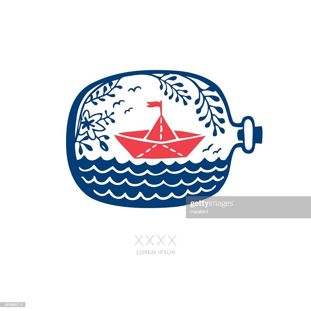 ORIGAMI PAPER BOAT IN A BOTTLE : stock illustration
