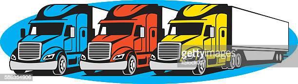 illustrations, cliparts, dessins animés et icônes de semi trucks - chauffeur routier