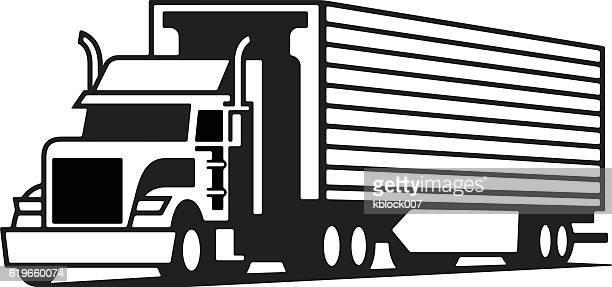 illustrations, cliparts, dessins animés et icônes de les semi-remorques - chauffeur routier