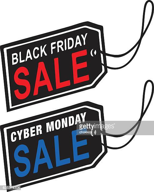black friday & cyber monday sale tag - cyber monday stock illustrations
