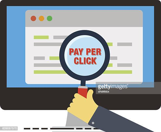 pay per click - online advertising stock illustrations, clip art, cartoons, & icons