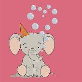 рисунок маленький слон в колпаке