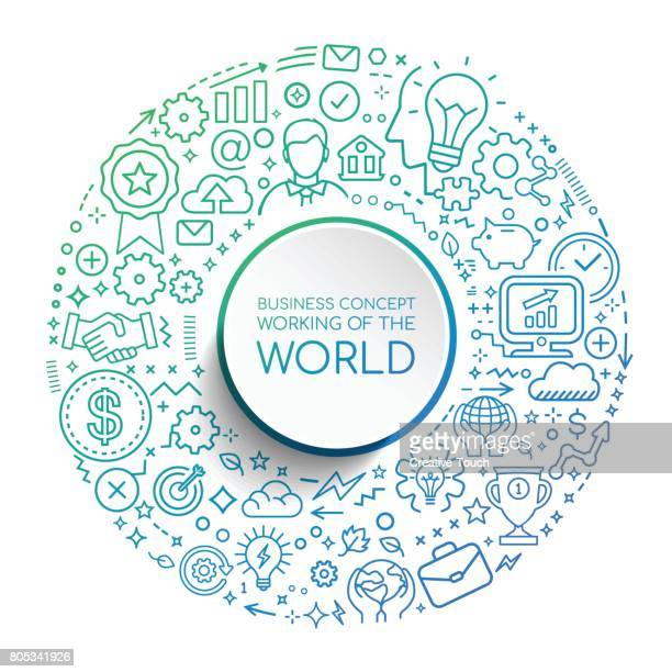 business concept work of world - finance and economy stock illustrations, clip art, cartoons, & icons