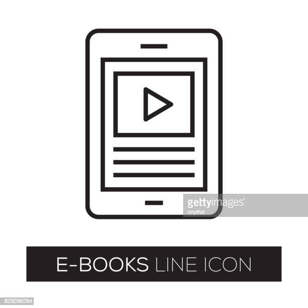e-books line icon - library stock illustrations, clip art, cartoons, & icons