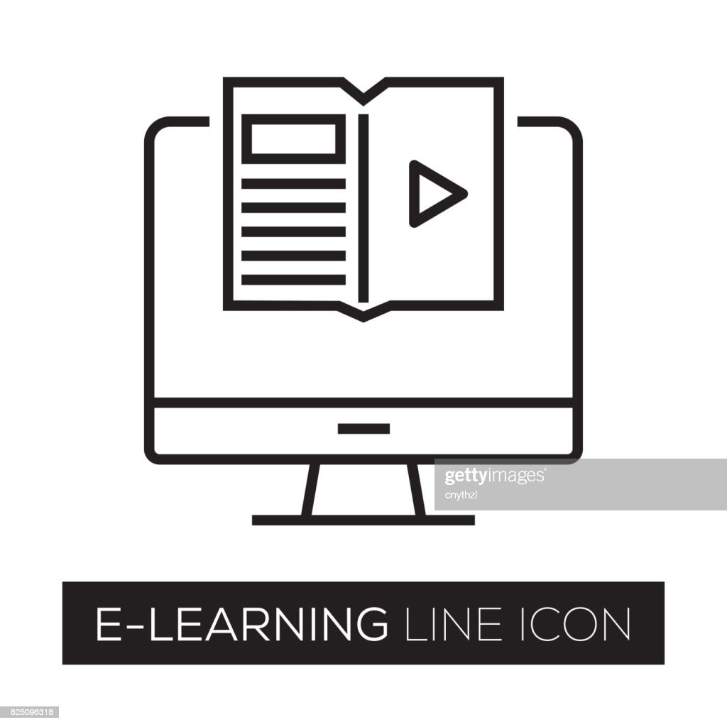 E-LEARNING LINIENSYMBOL : Stock-Illustration