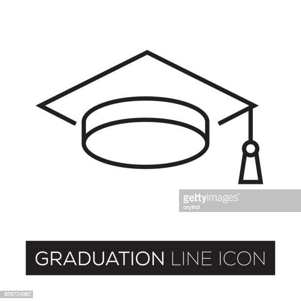 graduation line icon - cap hat stock illustrations, clip art, cartoons, & icons