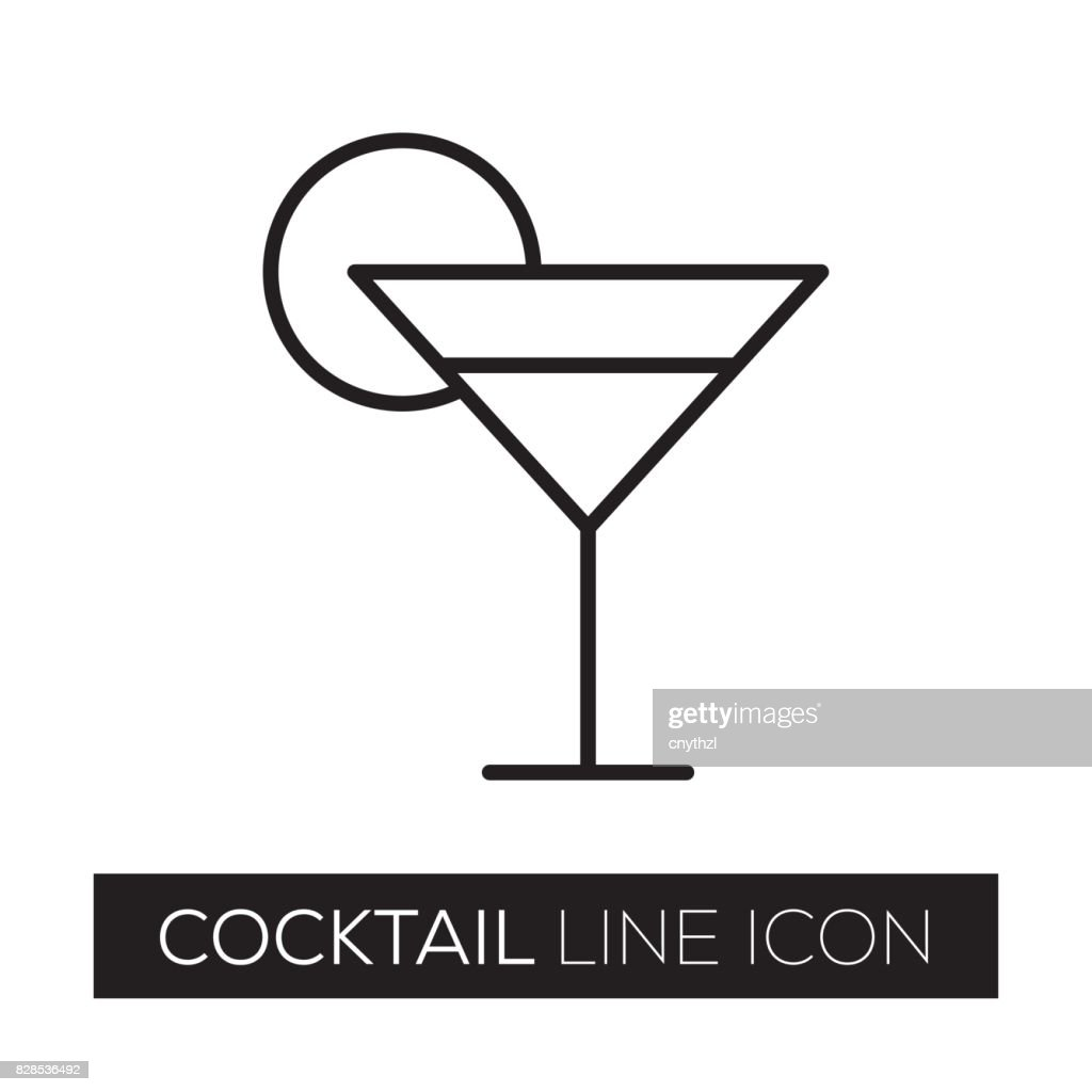 COCKTAIL LINE ICON : stock illustration