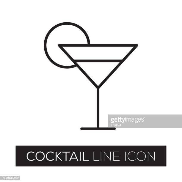 cocktail line icon - juice drink stock illustrations, clip art, cartoons, & icons