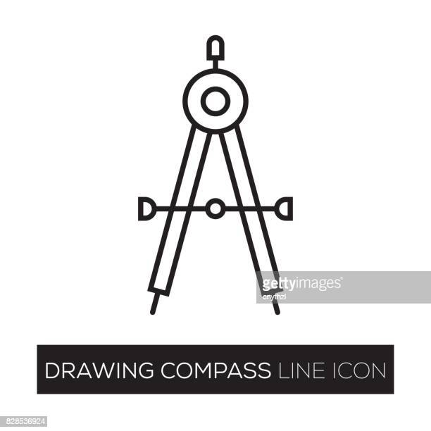 DRAWING COMPASS LINE ICON