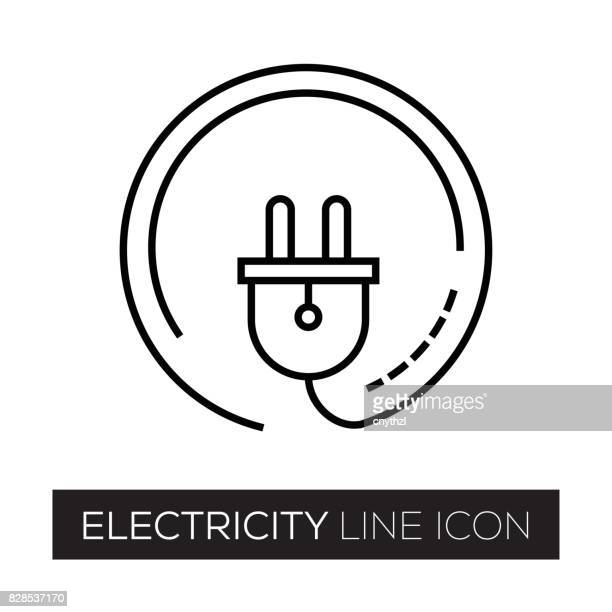 electricity line icon - electric plug stock illustrations, clip art, cartoons, & icons