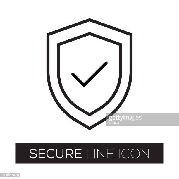 secure line icon - shield stock illustrations