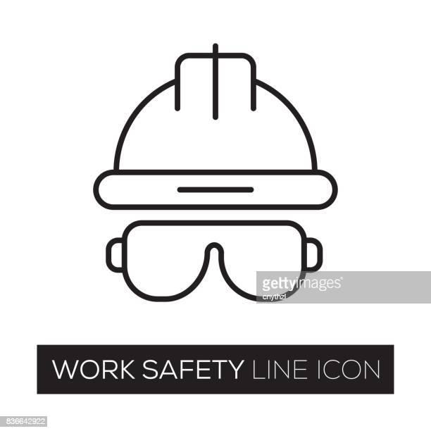 work safety line icon - work helmet stock illustrations