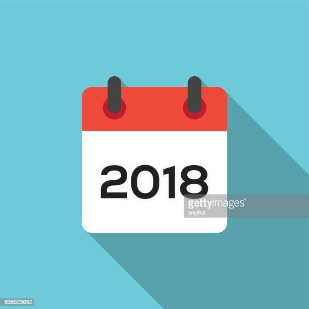 flat 2018 calendar - january stock illustrations