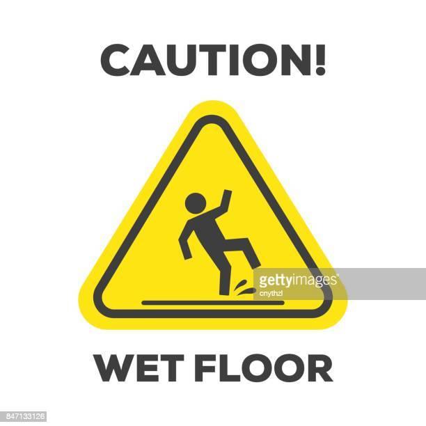warnschild vorsicht nassen boden - nass stock-grafiken, -clipart, -cartoons und -symbole