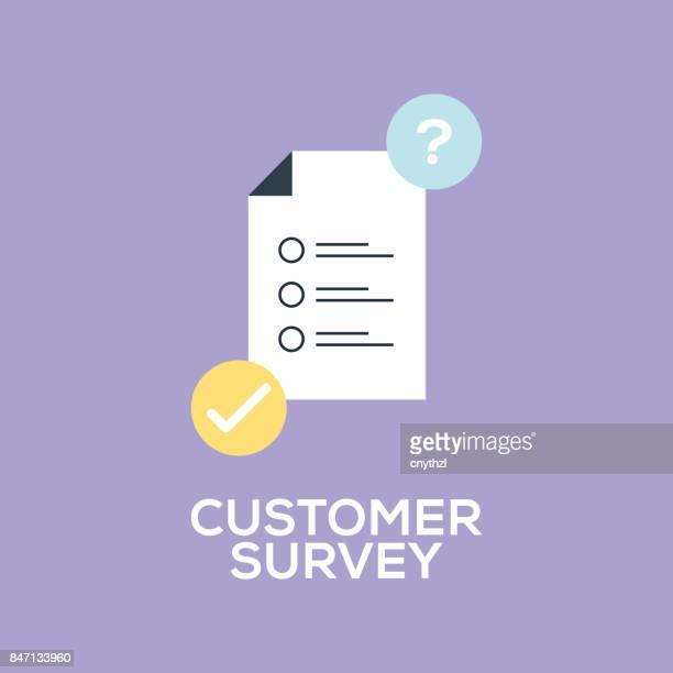 ilustraciones, imágenes clip art, dibujos animados e iconos de stock de concepto de encuesta de atención al cliente - cuestionario