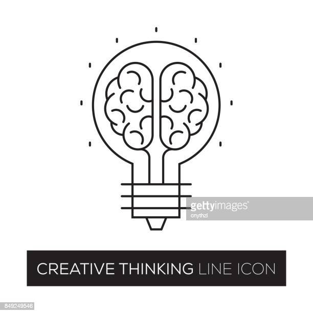 creative thinking concept line icon - contemplation stock illustrations, clip art, cartoons, & icons