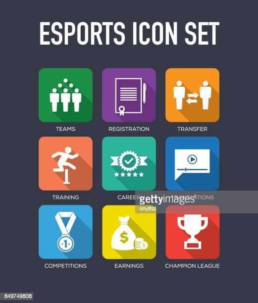 esports flat icon set - practicing stock illustrations, clip art, cartoons, & icons