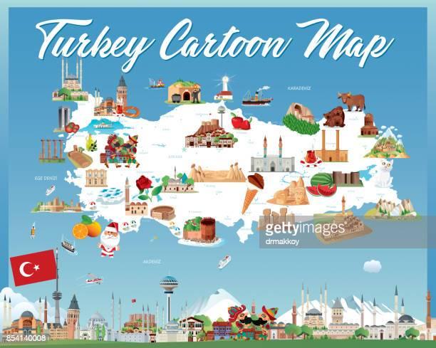 cartoon map of turkey - sivas stock illustrations