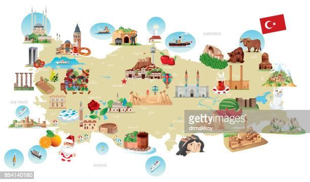 cartoon map of turkey - national holiday stock illustrations, clip art, cartoons, & icons