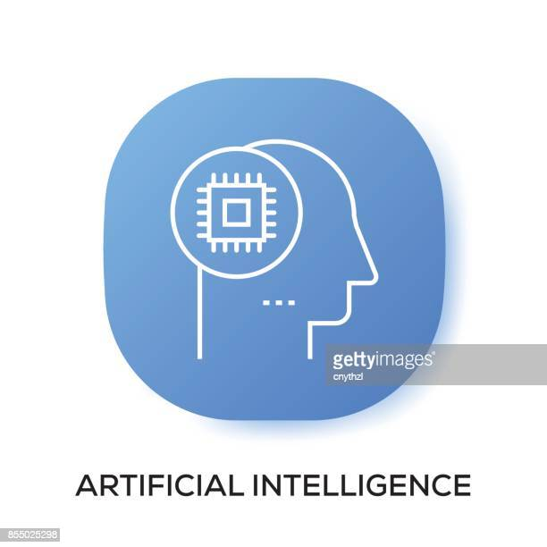 artificial intelligence app icon - assistant stock illustrations, clip art, cartoons, & icons